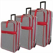 All-Seasons Vacation Expandable Upright Luggage Set, Red Houndstooth - 3 Piece(ECWE078)
