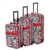 All-Seasons Zebra Prints Expandable Upright Luggage Set, Red Trim - 3 Piece(ECWE121)