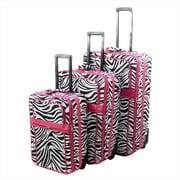 All-Seasons Vacation Expandable Upright Luggage Set, Pink Zebra Stripe - 3 Piece(ECWE115)