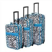 All-Seasons Zebra Prints Expandable Upright Luggage Set, Teal Trim - 3 Piece(ECWE122)