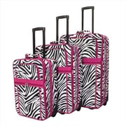 All-Seasons Zebra Prints Expandable Upright Luggage Set, Pink Trim - 3 Piece(ECWE117)