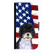 Carolines Treasures USA American Flag With Portuguese Water Dog Cell Phone Case Cover For Iphone 5 Or 5S(CRLT33696)