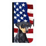 Carolines Treasures USA American Flag With Doberman Cell Phonebook Case Cover For Iphone 5 Or 5S(CRLT33666)