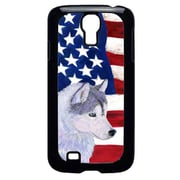 Carolines Treasures USA American Flag With Siberian Husky Galaxy S4 Cell Phone Cover(CRLT33213)