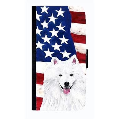 Carolines Treasures USA American Flag With American Eskimo Cell Phone Case Cover For Iphone 4 Or 4S(CRLT33589)