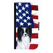 Carolines Treasures USA American Flag With Papillon Cell Phonebook Case Cover For Galaxy S3(CRLT33761)
