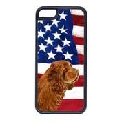 Carolines Treasures USA American Flag With Sussex Spaniel Iphone 5C Cover(CRLT33505)