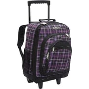 Everest 9045WH-PUR-BK PLAID Wheeled Backpack with Pattern - Purple-Black(EVRT695)