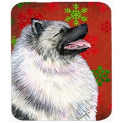 Carolines Treasures Keeshond Red and Green Snowflakes Christmas Mouse Pad, Hot Pad or Trivet(CRLT24186)