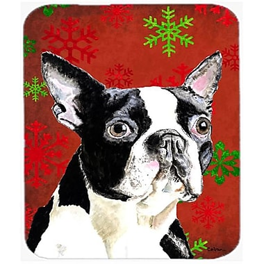 Carolines Treasures Boston Terrier Red And Green Snowflakes Christmas Mouse Pad, Hot Pad Or Trivet(CRLT22683)