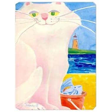 Carolines Treasures 9.5 x 8 in. White Cat by the Lighthouse Mouse Pad, Hot Pad Or Trivet(CRLT19827)