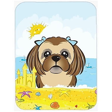 Carolines Treasures Chocolate Brown Shih Tzu Summer Beach Mouse Pad, Hot Pad or Trivet(CRLT92940)