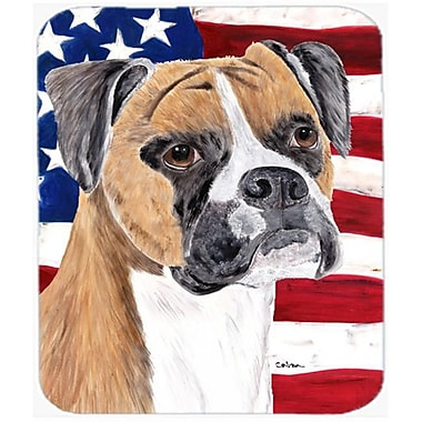 Carolines Treasures Usa American Flag With Boxer Mouse Pad, Hot Pad Or Trivet(CRLT22903)