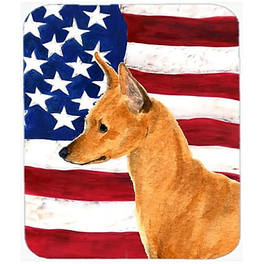 Carolines Treasures Usa American Flag With Min Pin Mouse Pad, Hot Pad or Trivet(CRLT22300)