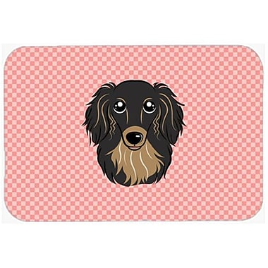 Carolines Treasures Checkerboard Pink Longhair Black And Tan Dachshund Mouse Pad, Hot Pad Or Trivet, 7.75 x 9.25 In.(CRLT63687)