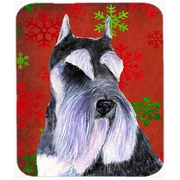 Carolines Treasures Schnauzer Red and Green Snowflakes Christmas Mouse Pad, Hot Pad or Trivet(CRLT24104)