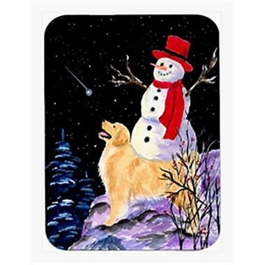 Carolines Treasures Golden Retriever With Snowman In Red Hat Mouse Pad & Hot Pad Or Trivet(CRLT22722)