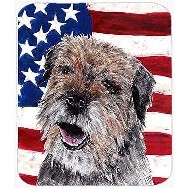 Carolines Treasures 7.75 x 9.25 In. Border Terrier Mix USA American Flag Mouse Pad, Hot Pad or Trivet(CRLT35678)