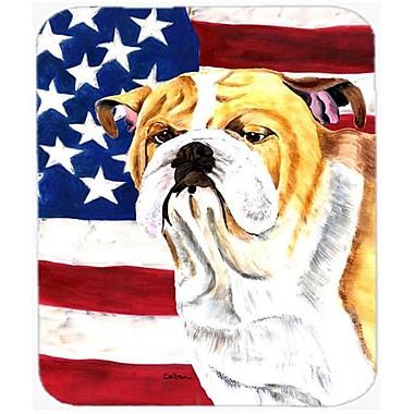 Carolines Treasures Usa American Flag With Bulldog English Mouse Pad, Hot Pad Or Trivet(CRLT20613)