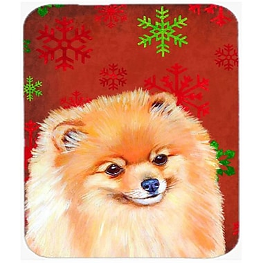 Carolines Treasures Pomeranian Red And Green Snowflakes Christmas Mouse Pad, Hot Pad Or Trivet - 7.75 x 9.25 In.(CRLT26147)