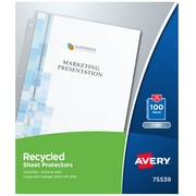 """Staples Heavy Weight Sheet Protectors 8.5/"""" x 11/"""" Semi-Clear 100//BX 812755"""