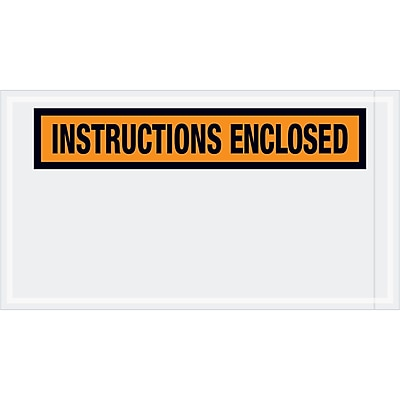"Tape Logic® ""Instructions Enclosed"" Envelopes, 5 1/2"" x 10"", Orange, 1000/Case (PL450)"