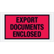"Tape Logic® ""Export Documents Enclosed"" Envelopes, 5 1/2"" x 10"", Red, 1000/Case (PL440)"