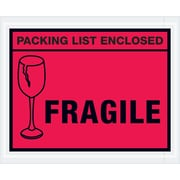 "Tape Logic® ""Packing List Enclosed - Fragile"" Envelopes, 4 1/2"" x 5 1/2"", Red, Case of 1000 (PL493)"