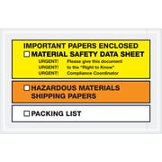 "Tape Logic® MSDS Envelopes, ""Important Paper Enclosed"", 6 1/2"" x 10"", Yellow/Orange, 1000/Case (PL499)"