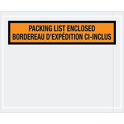 "Tape Logic® Bilingual Packing List Envelopes, 4 1/2"" x 5 1/2"", Orange, 1000/Case (PL501)"