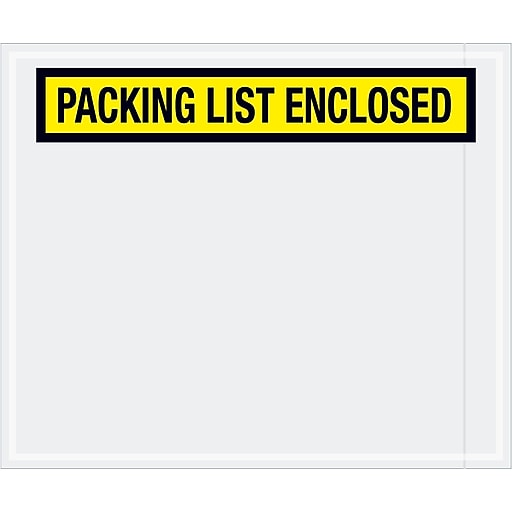 "Tape Logic® ""Packing List Enclosed"" Envelopes, 10"" x 12"", Yellow, 500/Case (PL433)"