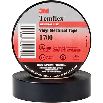 3M 1700 Electrical Tape, 7 Mil, 3/4