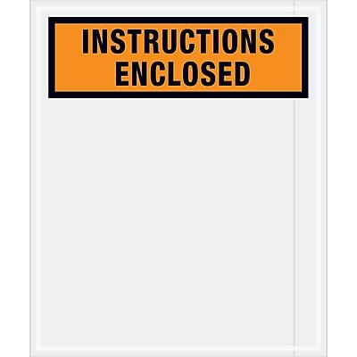 "Tape Logic® ""Instructions Enclosed"" Envelopes, 12"" x 10"", Orange, 500/Case (PL479)"