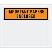 "Tape Logic® ""Important Papers Enclosed"" Envelopes, 10"" x 12"", Orange, 500/Case (PL449)"