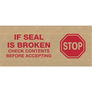 """Tape Logic® #7500 Pre-Printed Reinforced Water Activated Tape, """"Stop"""", 3"""" x 450', Kraft, 10/Case (T9077500RA)"""