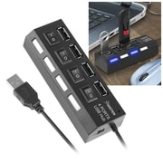 Insten 4-Port USB 2.0 Hub with Individual On Off Power Switches and LEDs