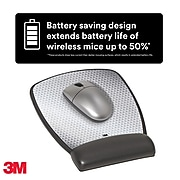 """3M™ Precise™ Mouse Pad with Gel Wrist Rest, Optical Mouse Performance, Battery Saving Design, 6.8"""" x 8.6"""", Vertex (MW309LE)"""
