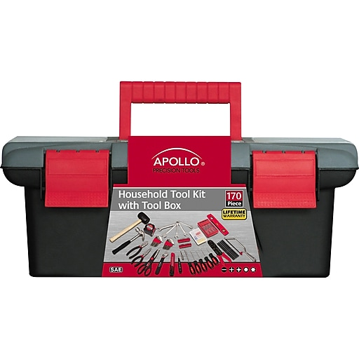 170 Piece Apollo Precision Tools DT7102 Household Tool Kit with Tool Box