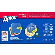 Ziploc Variety Pack Containers with Lids, Assorted Sizes, 24 Pieces/Pack (308674)