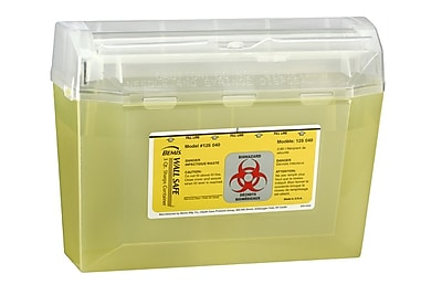 Bemis Wallsafe® Sharps Container, 5 Quart, Yellow, Box of 24 (125040-24)
