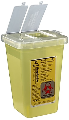 Bemis Phlebotomy Container, 1 Quart, Yellow, Pack of 20 (100040-20)
