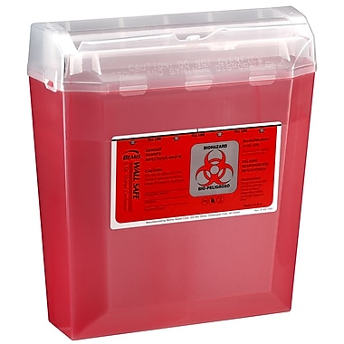 Bemis Wallsafe® Sharps Container, 5 Quart, Red, Pack of 5 (150030-5)