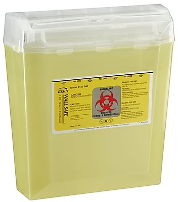 Bemis Wallsafe® Sharps Container, 5 Quart, Yellow, 5 Pack (150040-5)