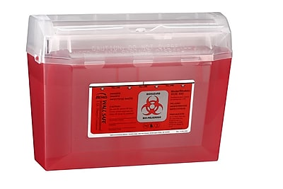 Bemis Wallsafe® Sharps Container, 3 Quart, Red, Pack of 5 (125030-5)