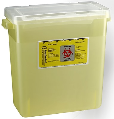 Bemis Sharps Container, 3 Gallon, Yellow, 12 Pack (303040-12)