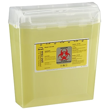 Bemis Wallsafe® Sharps Container, 5 Quart, Yellow (150040-24)