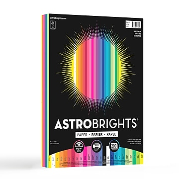 """Astrobrights Spectrum Colored Paper, 24 lbs., 8.5"""" x 11"""", Assorted Colors, 200 Sheets/Pack (91397)"""