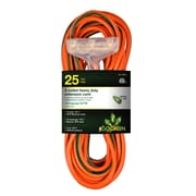 GoGreen Power 12/3 25' 3-Outlet Heavy Duty Extension Cord, Lighted End - Orange, GG-15225