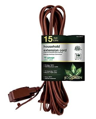 GoGreen Power 16/2 15' Household Extension Cord 3pk, Brown - GG-24815