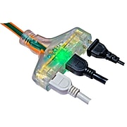 GoGreen Power 12/3 50' 3-Outlet Heavy Duty Extension Cord, Lighted End, Orange (GG-15250)